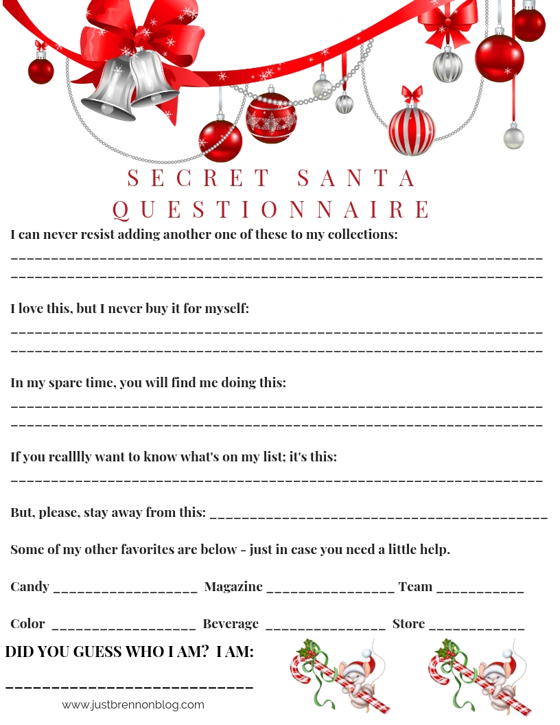 Free Download: Secret Santa Questionnaire - Just Brennon