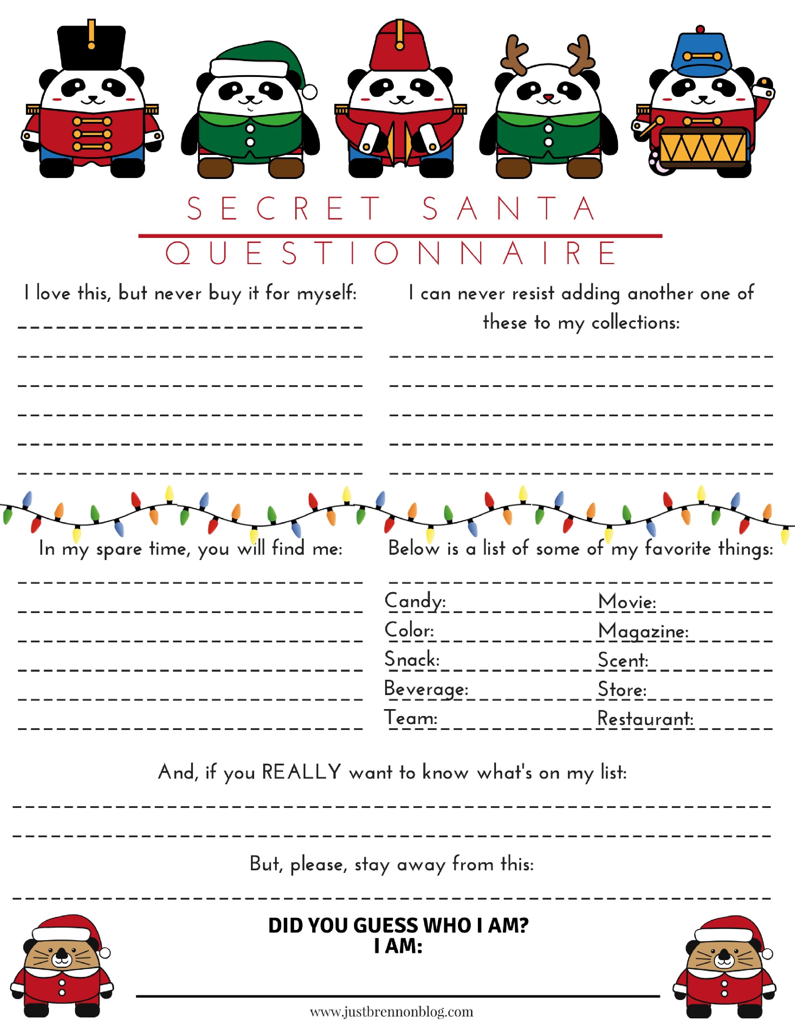 Free Download Secret Santa Questionnaire Just Brennon