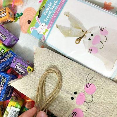 Review   Dollar Tree Easter Bunny Fabric Treat Sacks