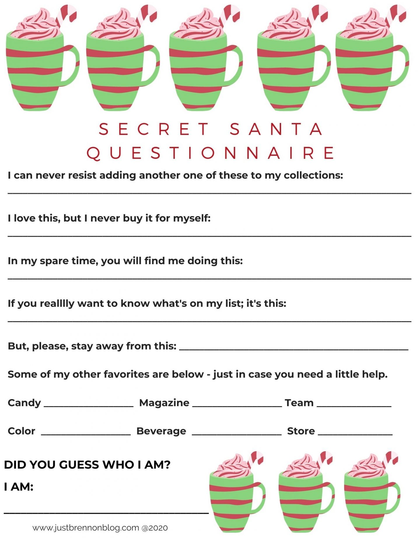 Free Downloads Secret Santa Questionnaires Since 2017 Just Brennon Blog